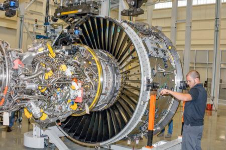 Pratt & Whitney Geared Turbo Fan engine production line