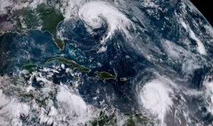 Hurricane Maria and Jose satellite view