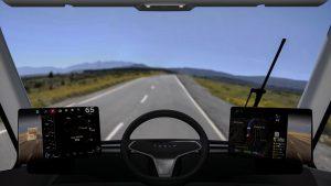 Tesla Electric Truck Cockpit